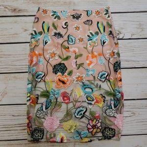 River Island sz 14 Skirt Floral Sheer Straight (+